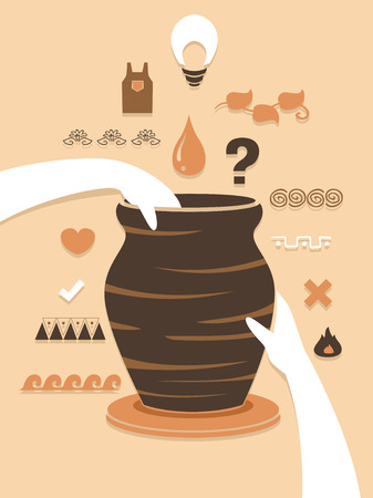 Illustration of Hands Holding a Jar on a Pottery Wheel with Different Design Elements Stock Photo