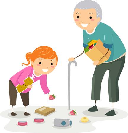 Illustration eines Stickman Kid Girl, das einem älteren Mann hilft, gefallene Lebensmittelgegenstände aufzunehmen