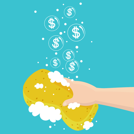 Illustration of a Hand Holding a Soapy Sponge with Bubbles and Dollar Signs