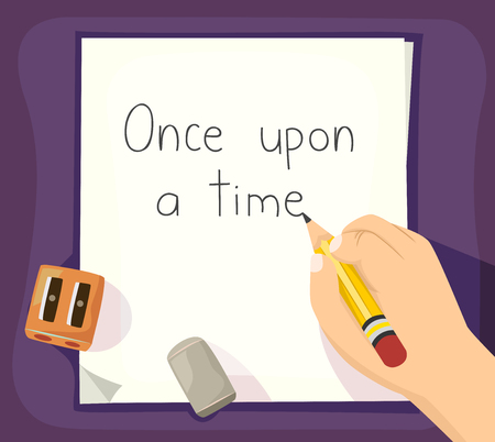 Illustration of a Hand of a Kid Holding a Pencil and Writing Once Upon a Time on a Sheet of Paper Stock Photo