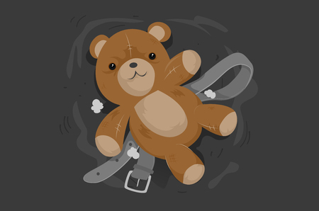 Illustration of a Broken Teddy Bear and a Belt to Represent Child Abuse Concept
