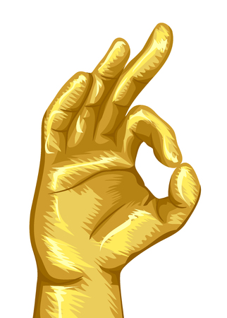Illustration of a Gold Hand in Vitarka Mudra or Gesture of Debate