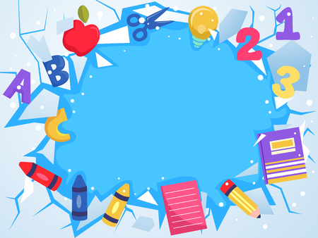 Background Illustration of Cracked Ice with School Elements like ABC, crayons, notebooks, pencil and 123