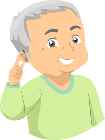 Illustration of a Senior Man Showing a Hearing Aid on His Ear Foto de archivo