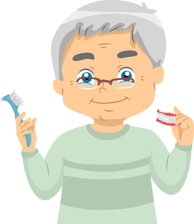 Illustration of a Senior Man Holding His Dentures and a Toothbrush Standard-Bild - 103447157