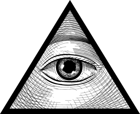 Sketch Illustration of an Eye Looking from the Inside of a Triangle as Third Eye Concept Banque d'images