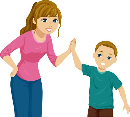 Illustratie van een tienermeisje High Five haar kleine broertje Stockfoto