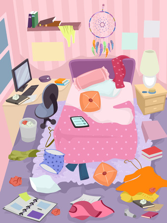 Illustration of a Messy Bedroom of a Girl with Clothes, Books and Trash