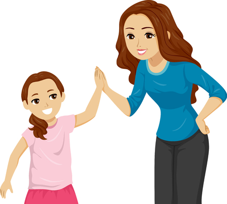 Illustration of a Teen Girl High Five Her Little Kid Girl Sister