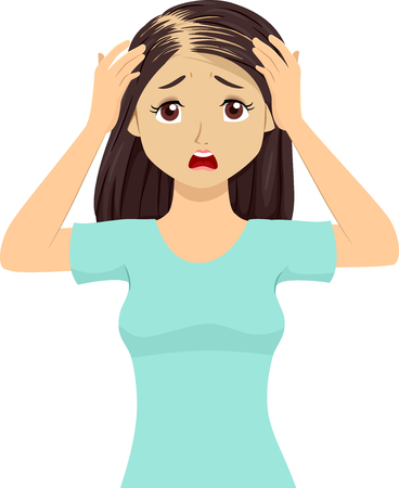 Illustration of a Teen Girl Worrying about Loosing Her Hair from Alopecia