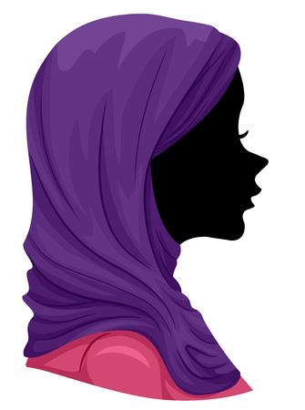 Illustration of a Muslim Girl Silhouette Wearing a Purple Hijab