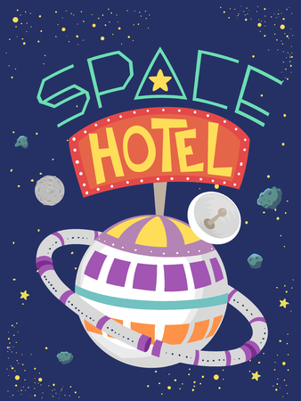 Illustration of a Fictional Hotel in the Outer Space Shaped as a Planet with Ring Imagens