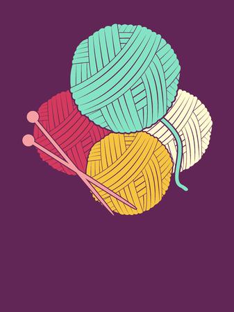 Illustrazione di ferri da maglia e palle di filo contro viola