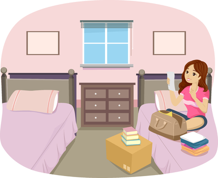 Illustration of a Teen Girl Going Over her Packing List in Her Dorm Room