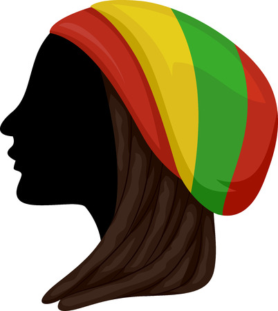 Illustration of a Rastafarian Girl Silhouette with Dreadlocks Wearing a Red, Yellow and Green Hat Stock Photo