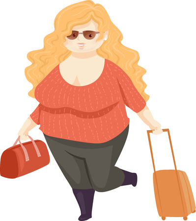 Illustration of a Fat Girl with Travel Bag and Luggage