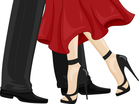 Illustration of a Man in Black Leather Shoes and a Woman Feet in High Heels Ballroom Dancing Stock Photo