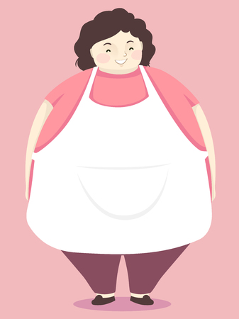 Illustration of a Fat Mother Wearing a Blank White Apron with Space for Text