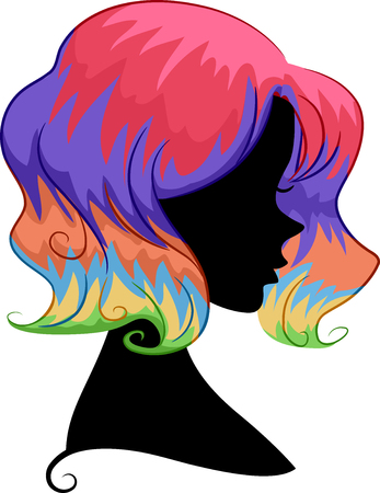 Illustration of a Girl Silhouette with a Rainbow Hair