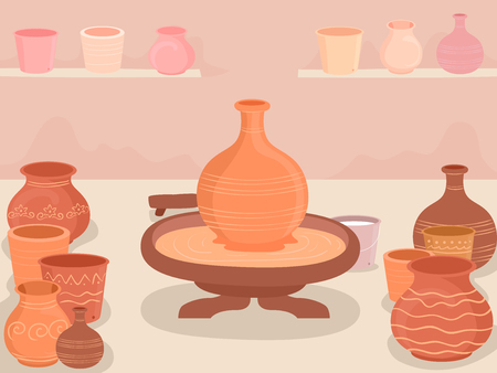 Illustration of a Potters Wheel and Different Pots Made Inside a Pottery Making Workshop Banque d'images