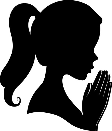 Illustration of a Girl Silhouette with Hands Together Praying