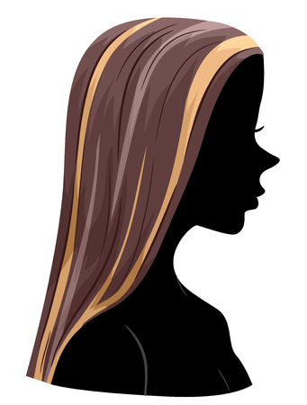 Illustration of a Girl Silhouette Showing Hair Highlights