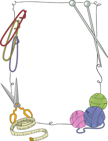 Illustration of Knitting Tools from Needles, Thread, Scissors, Tape Measure and Stitch Holder Forming a Frame