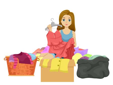 Ilustración de una adolescente clasificando la ropa en una canasta, una caja y una bolsa de plástico negra