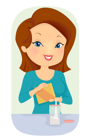Illustration of a Girl Organizing, Transferring a Boxed Product to a Container