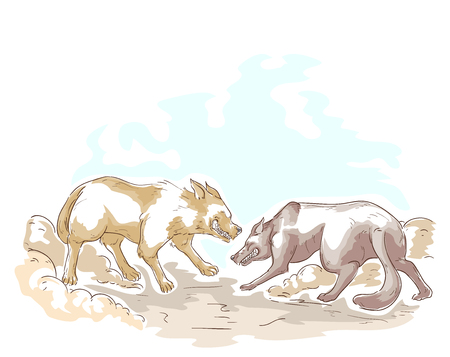 Illustration of Two Dogs Fighting with Each Other