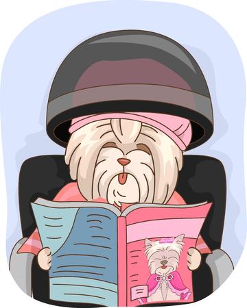 Illustration of a Dog Mascot Sitting Under a Hair Steamer Reading a Magazine Zdjęcie Seryjne
