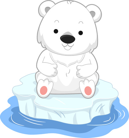 Illustration of a Polar Bear Sitting on an Iceberg Floating in Water