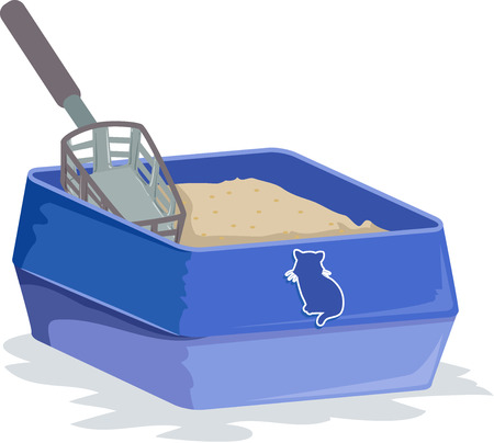 Illustration of a Blue Cat Litter Box Filled with Sand and a Litter Scoop