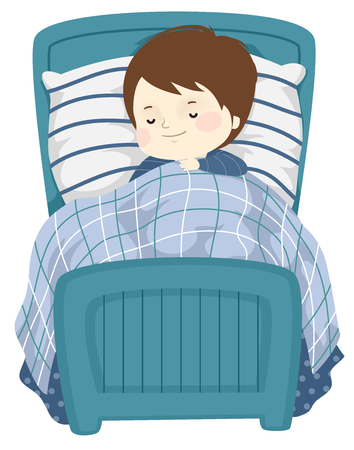 Illustration of a Kid Boy Sleeping and Smiling in His Blue Single Bed