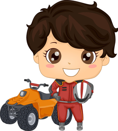 Illustration of a Kid Boy Wearing a Racing Gear with Helmet Standing Beside a Quad Bike