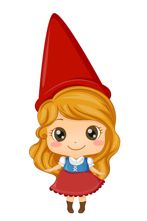Illustration of a Kid Girl Wearing a Gnome Costume with Red Conical Hat
