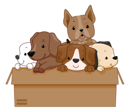 Illustration of a Cardboard Box Full of Dogs for Adoption