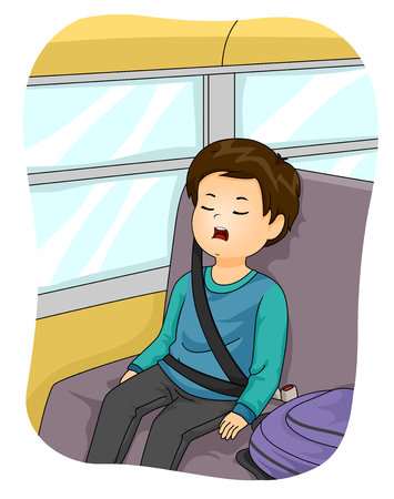 Illustration of a Kid Boy with Mouth Open Sleeping, Sitting in the School Bus 版權商用圖片