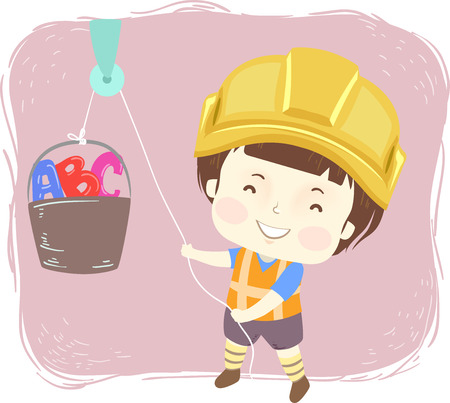 Illustration of a Kid Boy Wearing a Yellow Hard Hat and Safety Vest Using a Pulley to Pull a Bucket of ABC Stok Fotoğraf