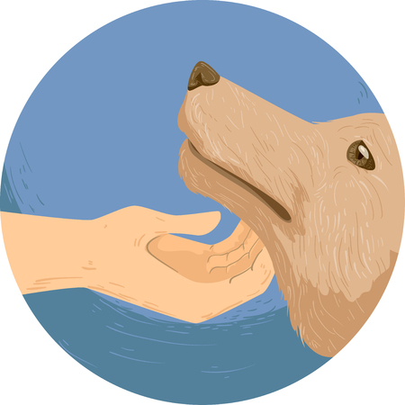 Illustration of a Hand Tapping Under the Chin of a Dog