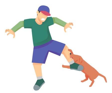 Illustration eines Hundes, der ein Mans-Bein beißt