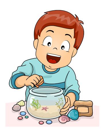 Illustration of a Kid Boy Decorating a Fish Bowl Aquarium with Shells, Stones and Plants Banque d'images - 104448018