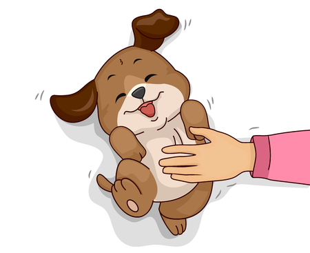 Illustration of a Hand Rubbing the Belly of Her Pet Dog