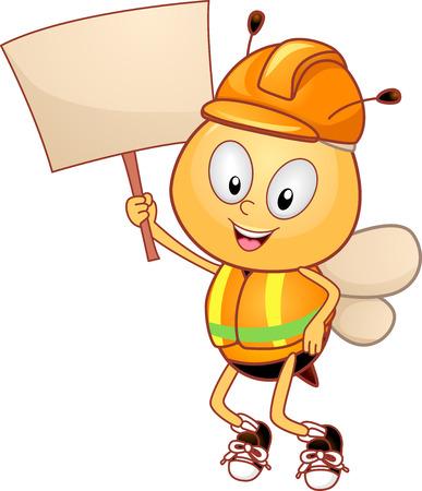 Ilustración de una abeja mascota con casco y chaleco, sosteniendo un tablero en blanco