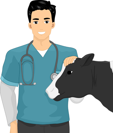Illustration of a Man with Stethoscope Petting a Cow on Its Head