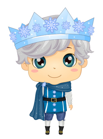 Illustration of a Kid Boy Wearing a Prince Costume in Blue and an Ice Crown Reklamní fotografie - 104448130