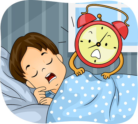 Illustration of a Kid Boy Sleeping On His Bed Being Woken Up by an Alarm Clock 写真素材
