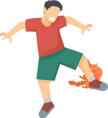 Illustration of an Orange Cat Biting a Mans Leg