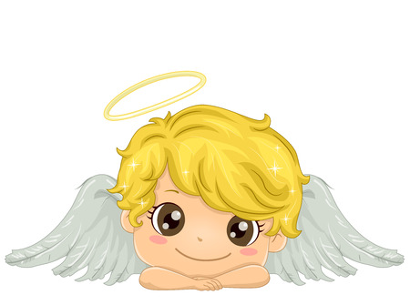 Illustration of a Smiling Kid Boy Angel with White Wings and Gold Halo 스톡 콘텐츠