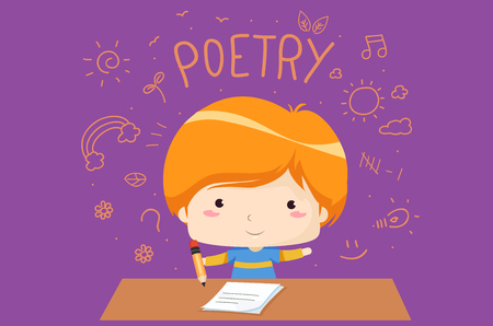 Illustration of a Kid Boy Holding a Pencil with Paper Writing Poetry Foto de archivo - 106698190